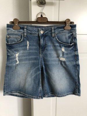Hallhuber Pantalón corto de tela vaquera azul acero Algodón