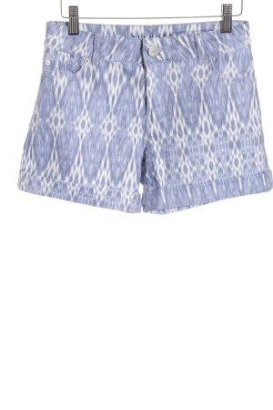 Hallhuber Jeansshorts blau-weiß abstraktes Muster Casual-Look