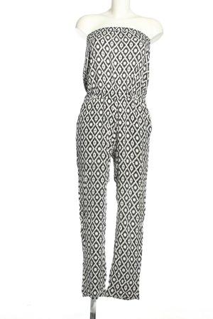 Hallhuber Jumpsuit weiß-schwarz Allover-Druck Casual-Look