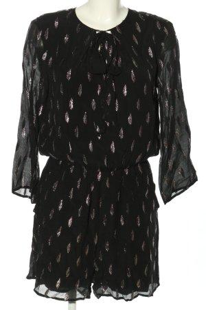 Hallhuber Jumpsuit schwarz-silberfarben Allover-Druck Casual-Look