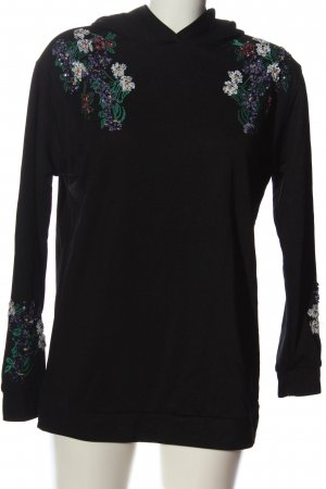 Hallhuber Kapuzensweatshirt schwarz Blumenmuster Casual-Look