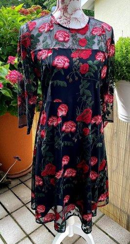HALLHUBER → Kleid * Mesh * bestickt * Blumen * schwarz * Gr. 38   NEUwertig