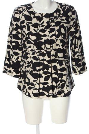 Hallhuber Kurz-Blazer weiß-schwarz abstraktes Muster Casual-Look