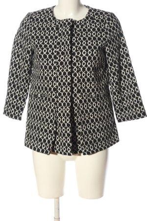 Hallhuber Kurz-Blazer schwarz-weiß abstraktes Muster Casual-Look