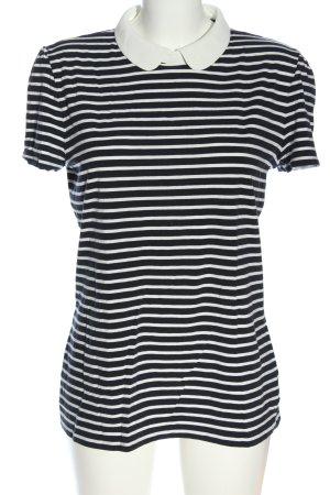 Hallhuber Kurzarm-Bluse weiß-schwarz Streifenmuster Casual-Look