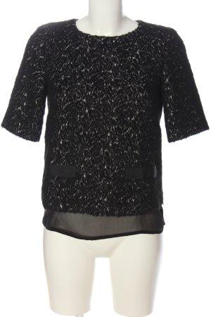 Hallhuber Kurzarm-Bluse schwarz-wollweiß abstraktes Muster Casual-Look