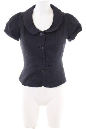 Hallhuber Kurzarm-Bluse schwarz-blau Casual-Look