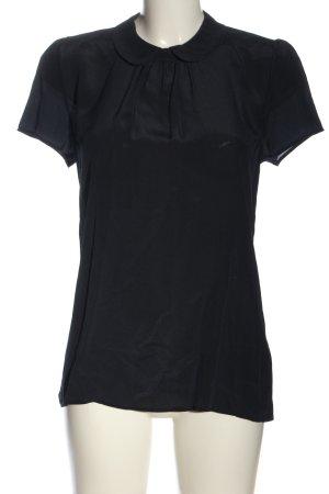 Hallhuber Kurzarm-Bluse schwarz Casual-Look