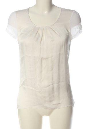 Hallhuber Kurzarm-Bluse wollweiß-weiß Casual-Look