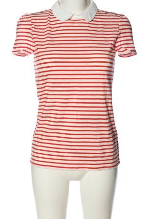 Hallhuber Kurzarm-Bluse weiß-rot Allover-Druck Casual-Look