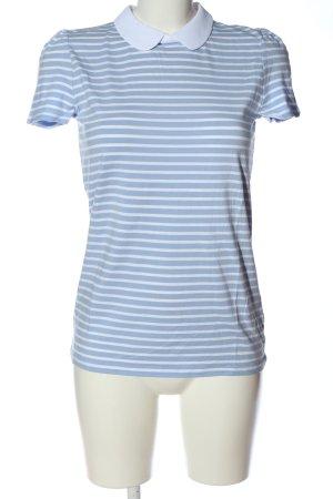 Hallhuber Kurzarm-Bluse blau-weiß Allover-Druck Casual-Look