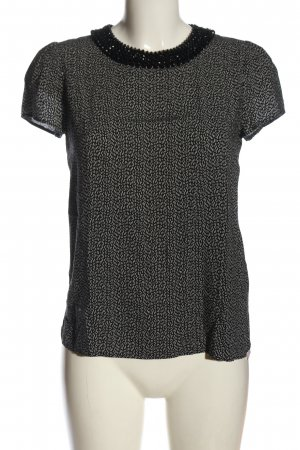 Hallhuber Kurzarm-Bluse schwarz-weiß Allover-Druck Casual-Look