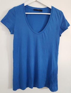 Hallhuber Kurzarm-Shirt, blau, Größe S, weiter Rundhalsausschnitt