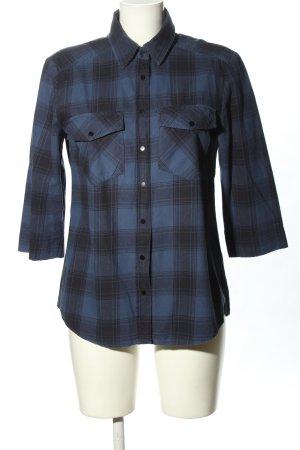 Hallhuber Chemise à manches courtes bleu-noir motif à carreaux