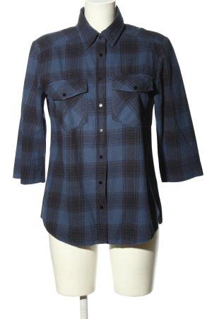 Hallhuber Kurzarmhemd blau-schwarz Karomuster Casual-Look