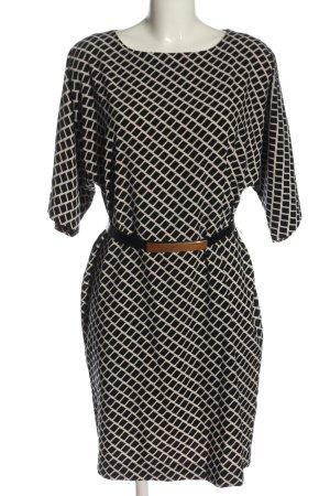 Hallhuber Robe à manches courtes noir-blanc imprimé allover style d'affaires