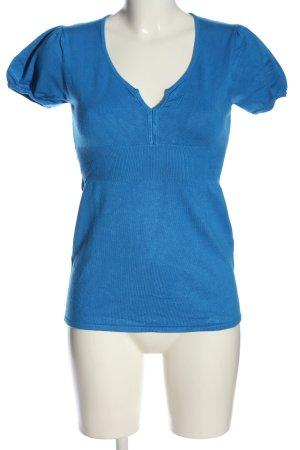 Hallhuber Kurzarmpullover blau Casual-Look