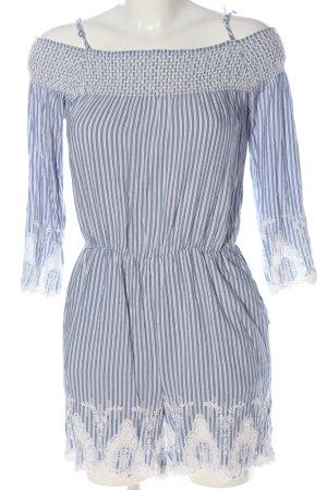Hallhuber Kurzer Jumpsuit blue-white allover print casual look
