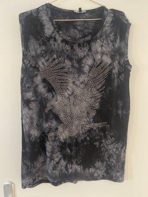 Hallhuber Koszulka typu batik czarny-ciemnoszary