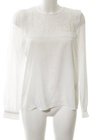 Hallhuber Langarm-Bluse weiß Elegant