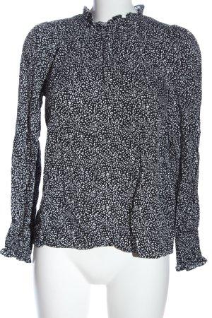 Hallhuber Langarm-Bluse weiß-schwarz Allover-Druck Casual-Look