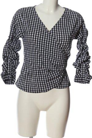 Hallhuber Langarm-Bluse schwarz-weiß Karomuster Casual-Look