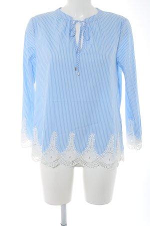Hallhuber Langarm-Bluse blau-weiß Allover-Druck Casual-Look