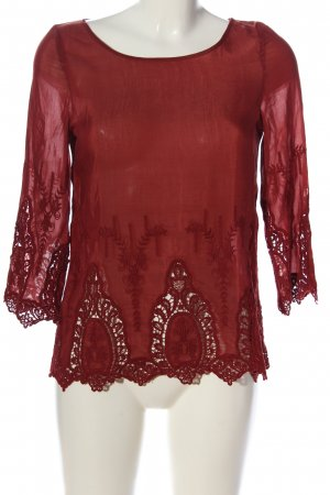 Hallhuber Langarm-Bluse rot Webmuster Casual-Look