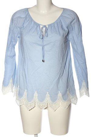 Hallhuber Langarm-Bluse blau-weiß Casual-Look