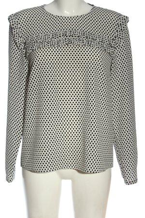 Hallhuber Bluzka z długim rękawem biały-czarny Na całej powierzchni