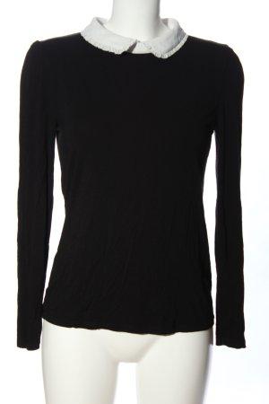 Hallhuber Langarm-Bluse schwarz-weiß Casual-Look