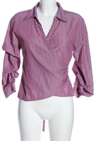 Hallhuber Langarm-Bluse pink-weiß Streifenmuster Casual-Look