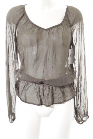 Hallhuber Langarm-Bluse graubraun Elegant