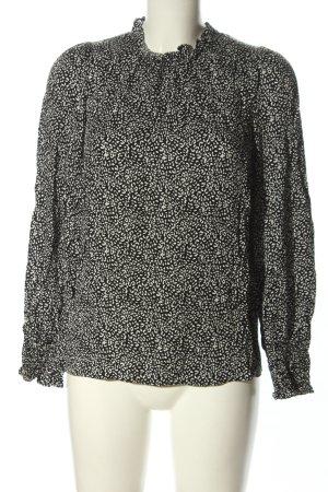 Hallhuber Langarm-Bluse schwarz-weiß Allover-Druck Casual-Look