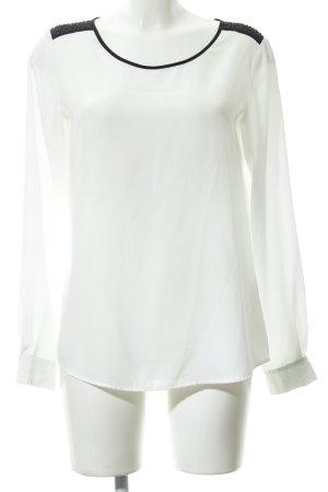 Hallhuber Langarm-Bluse weiß-schwarz Elegant