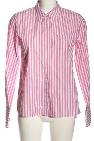Hallhuber Langarmhemd pink-weiß Streifenmuster Business-Look