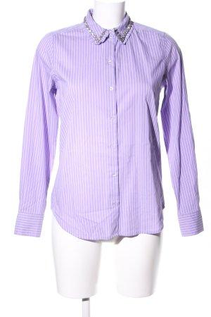 Hallhuber Langarmhemd lila-weiß Streifenmuster Business-Look