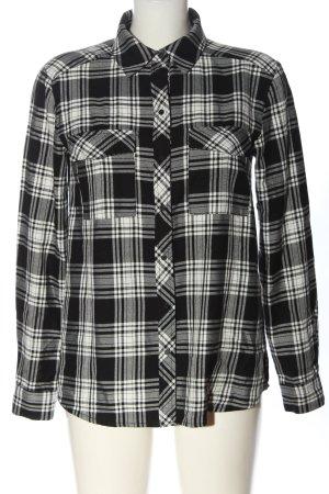 Hallhuber Langarmhemd schwarz-weiß Karomuster Casual-Look