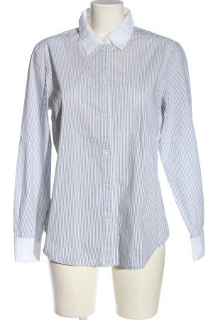 Hallhuber Langarmhemd weiß-schwarz Allover-Druck Casual-Look