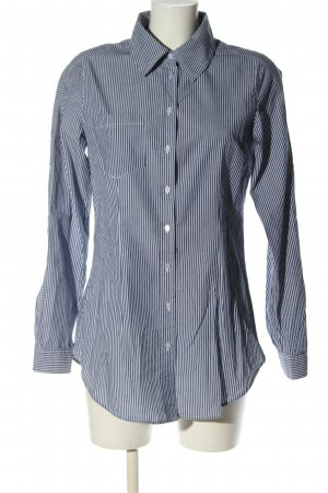 Hallhuber Langarmhemd weiß-blau Allover-Druck Business-Look