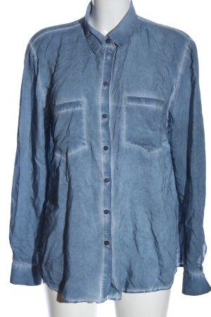 Hallhuber Chemise à manches longues bleu style décontracté