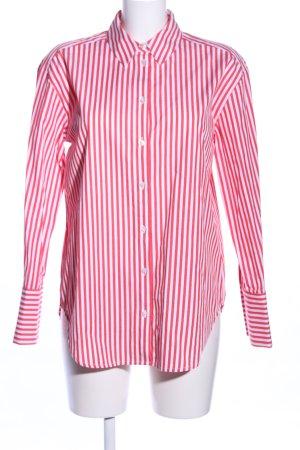 Hallhuber Langarmhemd rot-weiß Allover-Druck Business-Look