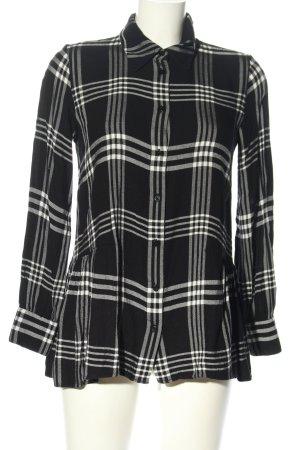 Hallhuber Langarmhemd schwarz-weiß abstraktes Muster Casual-Look