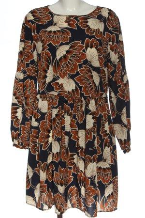 Hallhuber Robe à manches longues noir-brun imprimé allover style décontracté