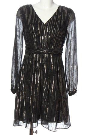 Hallhuber Langarmkleid schwarz-goldfarben Streifenmuster Elegant