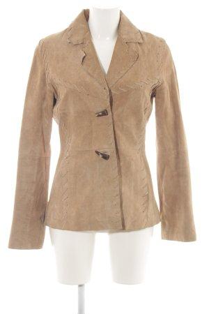 Hallhuber Leren blazer bruin casual uitstraling