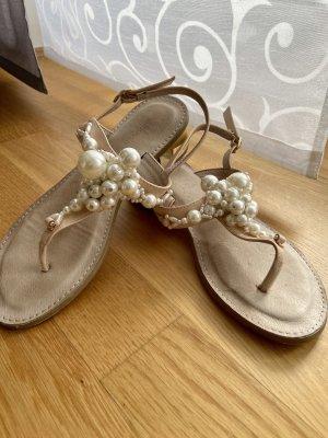 Hallhuber Leder Sandalen mit Perlenbesatz
