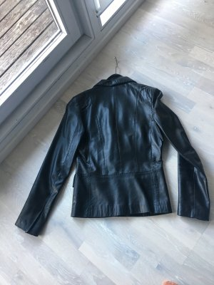 Hallhuber Leather Blazer black leather