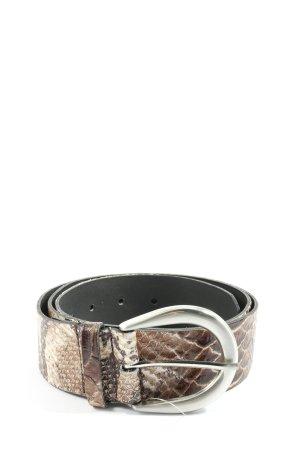 Hallhuber Lederen riem bruin-wolwit volledige print casual uitstraling