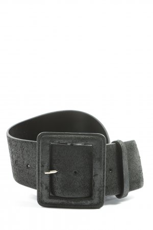 Hallhuber Cinturón de cuero negro look casual